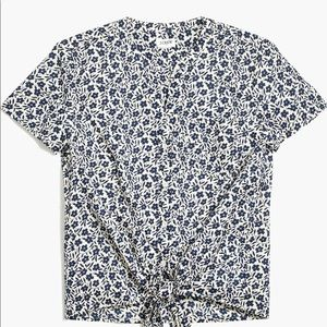 J Crew Tied Front Floral Shirt